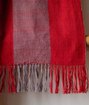 Hand-woven woollen stole dyed with madder, tea and harada