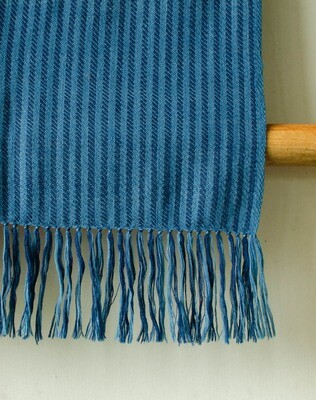 Hand-woven woollen stole dyed with Indigo