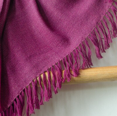 Hand-woven stole wool and eri silk dyed with shellac and sappanwood