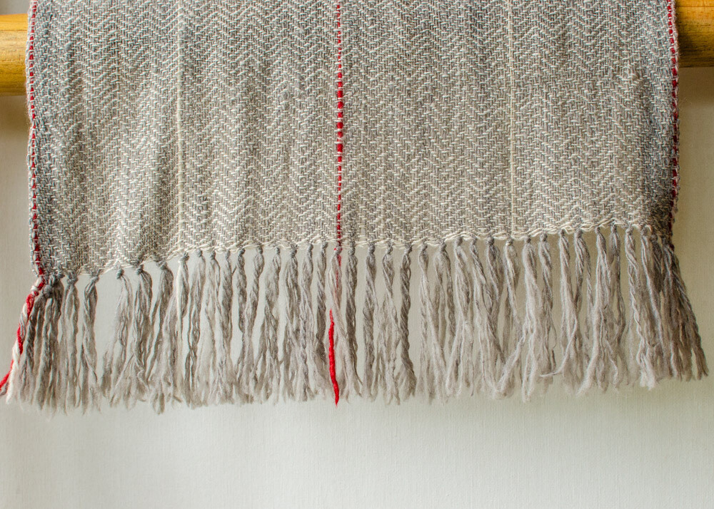 Hand-made Scarf made with hand spun wool and dyed with  tea and harada