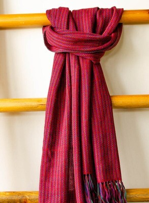 Hand-woven woollen stole dyed with indigo madder tesu and sappanwood