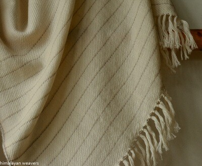 Hand-woven woollen stole dyed with tea and harada
