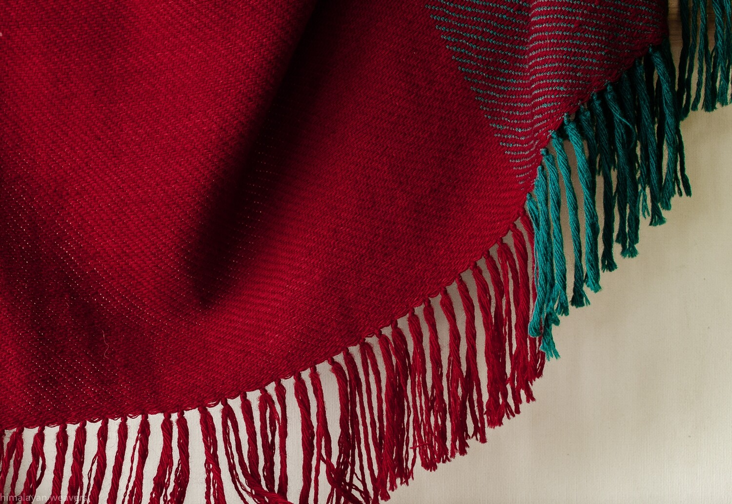 Hand-woven woollen stole dyed with madder, indigo and tesu flowers