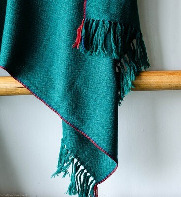 Hand-woven woollen stole dyed with indigo, madder and tesu
