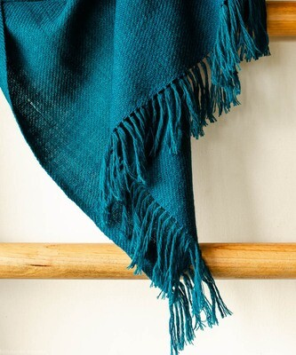 Hand-woven woollen stole (small) dyed with indigo