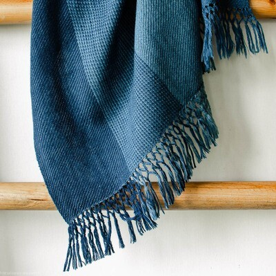 Hand-woven woollen stole (small) dyed with indigo. Fringes with double knotting