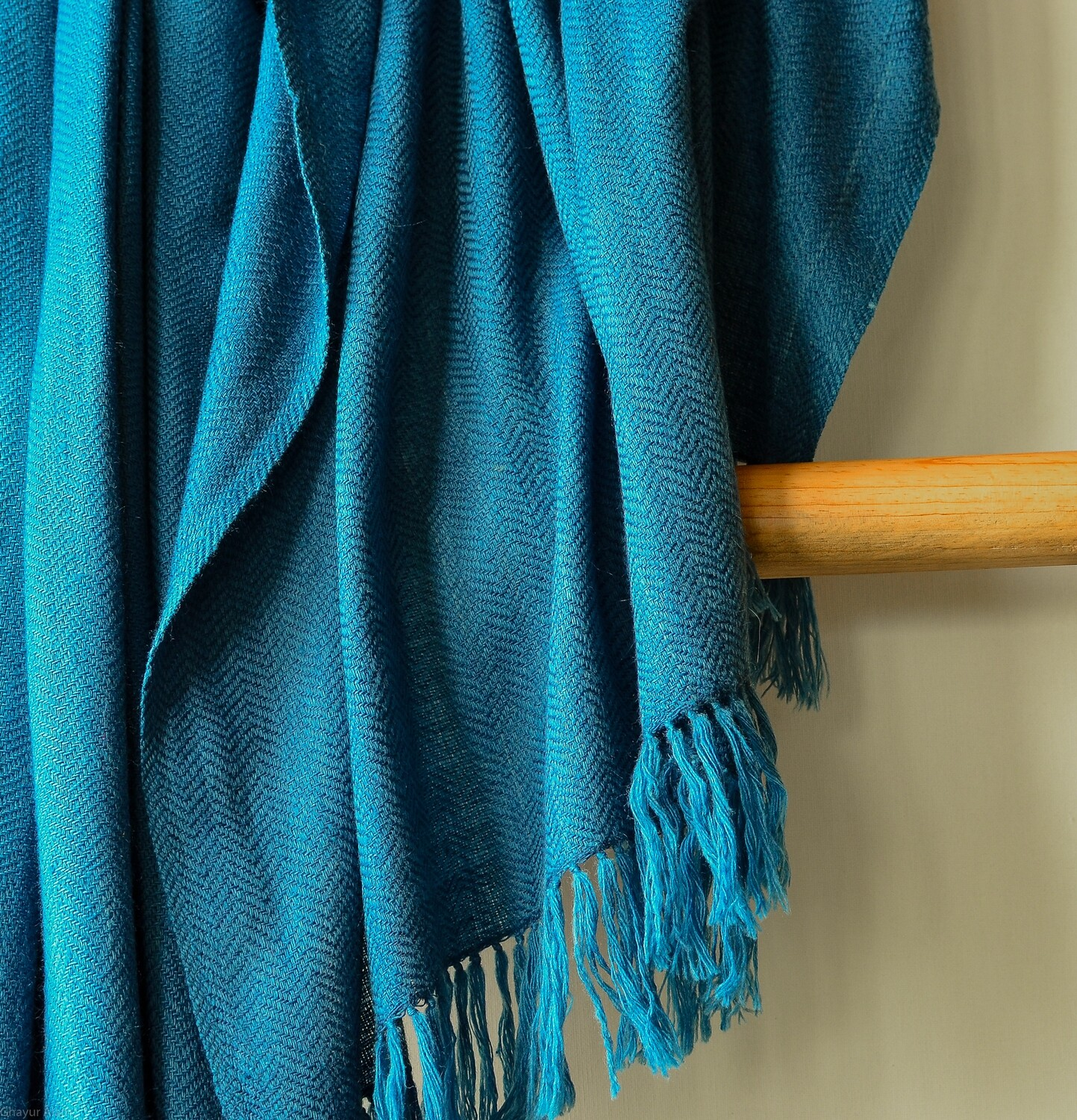 Hand-woven woollen shawl dyed with indigo