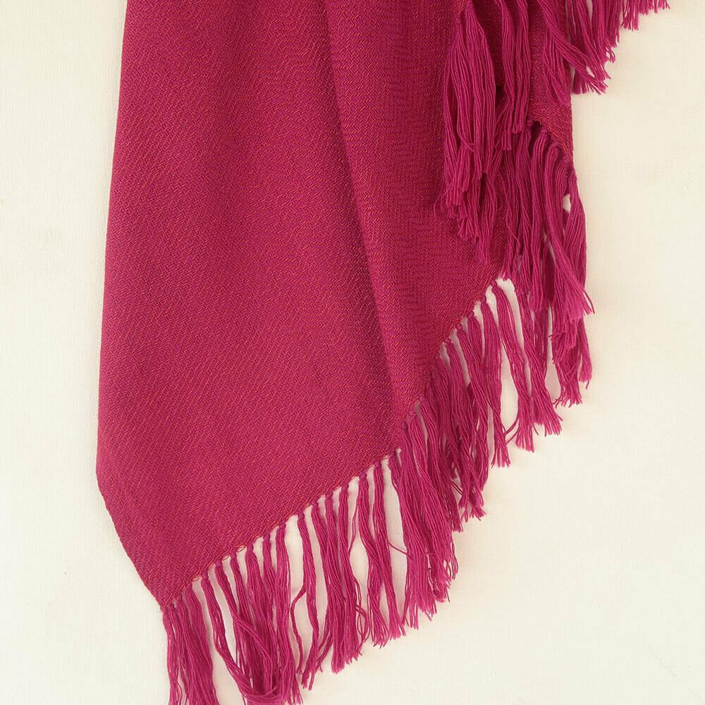 Handwoven Shawl Wool and Eri Silk Dyed with Sappanwood