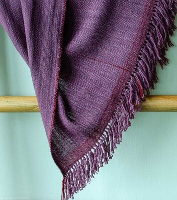 Woolen Shawl Hand Spun and Handwoven Dyed with Madder and Shellac
