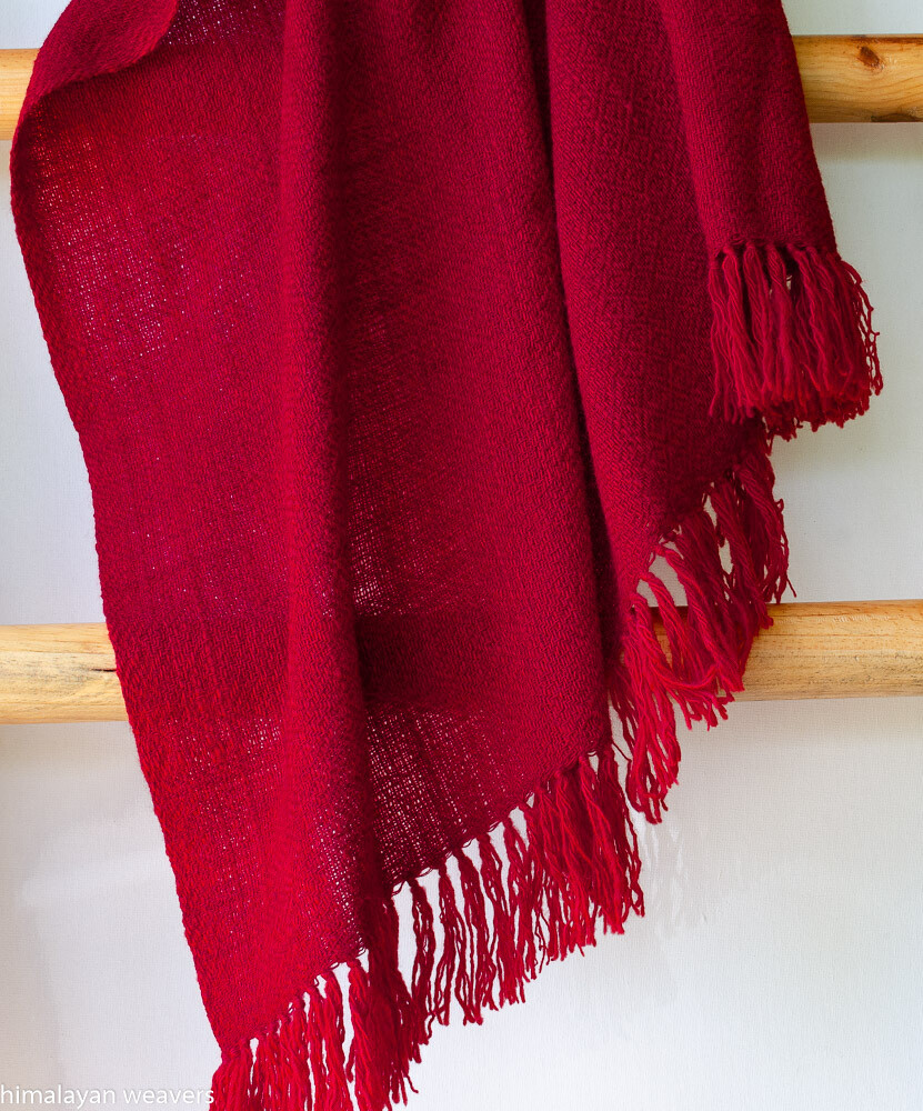 Woolen Shawl Hand Spun and Handwoven Dyed with madder