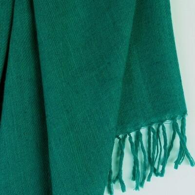 Hand-woven Pashmina Shawl dyed with indigo and tesu