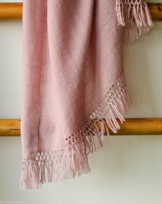 Hand-woven woollen shawl dyed with shellac
