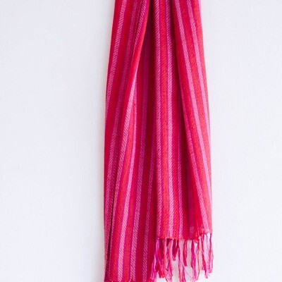 Hand-woven Pashmina Scarf dyed with madder, shellac and sappanwood
