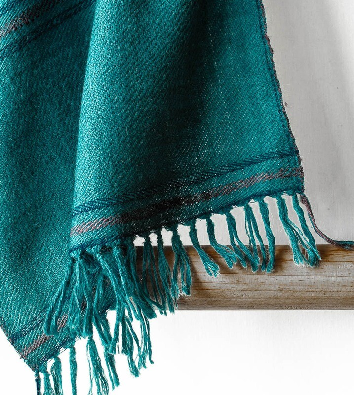 Hand-woven Pashmina Scarf dyed with tesu and sappanwood