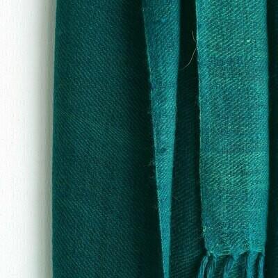 Hand-woven Pashmina Stole dyed with indigo and tesu