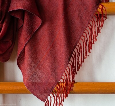 Hand-woven Pashmina Stole dyed with madder and shellac