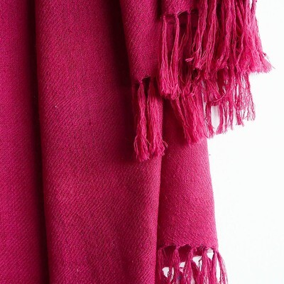 Hand-woven Pashmina Stole dyed with sappanwood