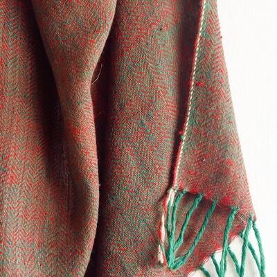 Hand-woven Pashmina Stole dyed with madder, tea, tesu and indigo
