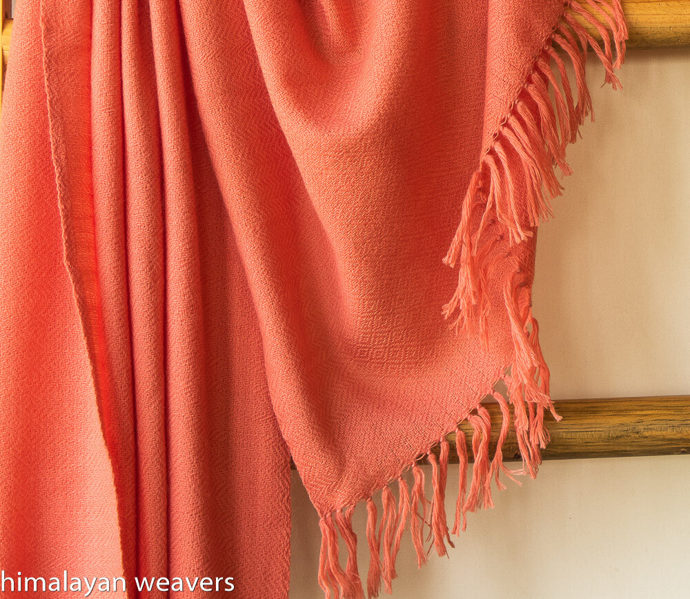 Hand-woven woollen shawl dyed with sappanwood