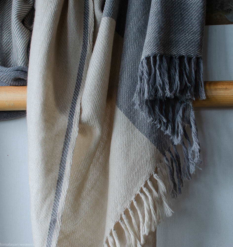 Hand-woven woollen shawl dyed with Tea and Harada