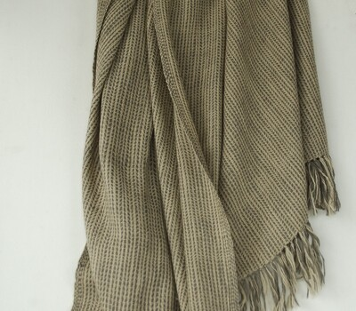 Woolen Shawl Hand Spun and Handwoven Dyed with tea and harada