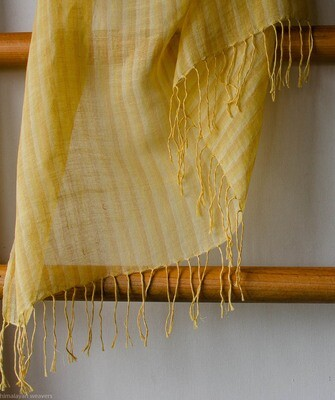 Hand-woven cotton and linen stole dyed with tesu flowers
