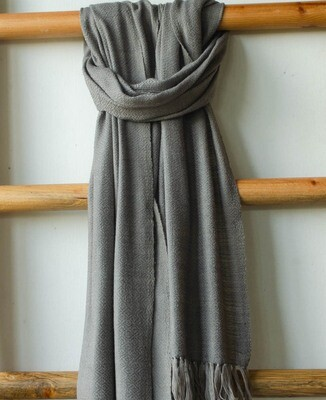 Hand-woven stole wool and eri silk dyed with harada