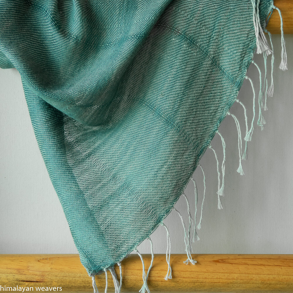 Large scarf cotton and eri silk dyed with indigo and tesu
