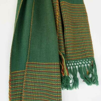 Hand-woven woollen scarf dyed with indigo, madder and tesu