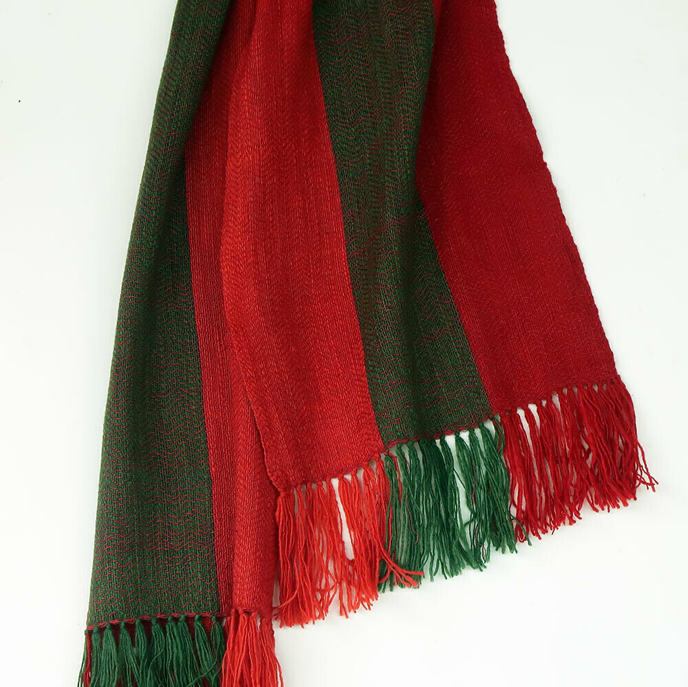 Scarf Hand-spun Wool and Eri Silk coloured with Natural Dyes