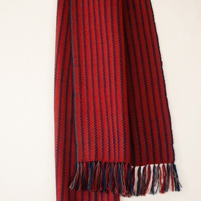 Handwoven Woollen Scarf Dyed with Madder, indigo and Harada