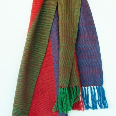 Handwoven Woollen Scarf Dyed with madder,indigo and Tesu