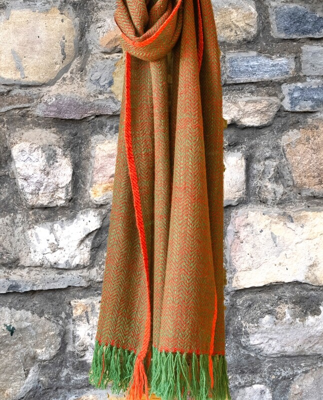 Scarf made with hand spun wool and dyed with Madder, Indigo and Tesu