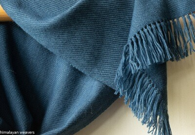 Woollen scarf made with dyed with indigo