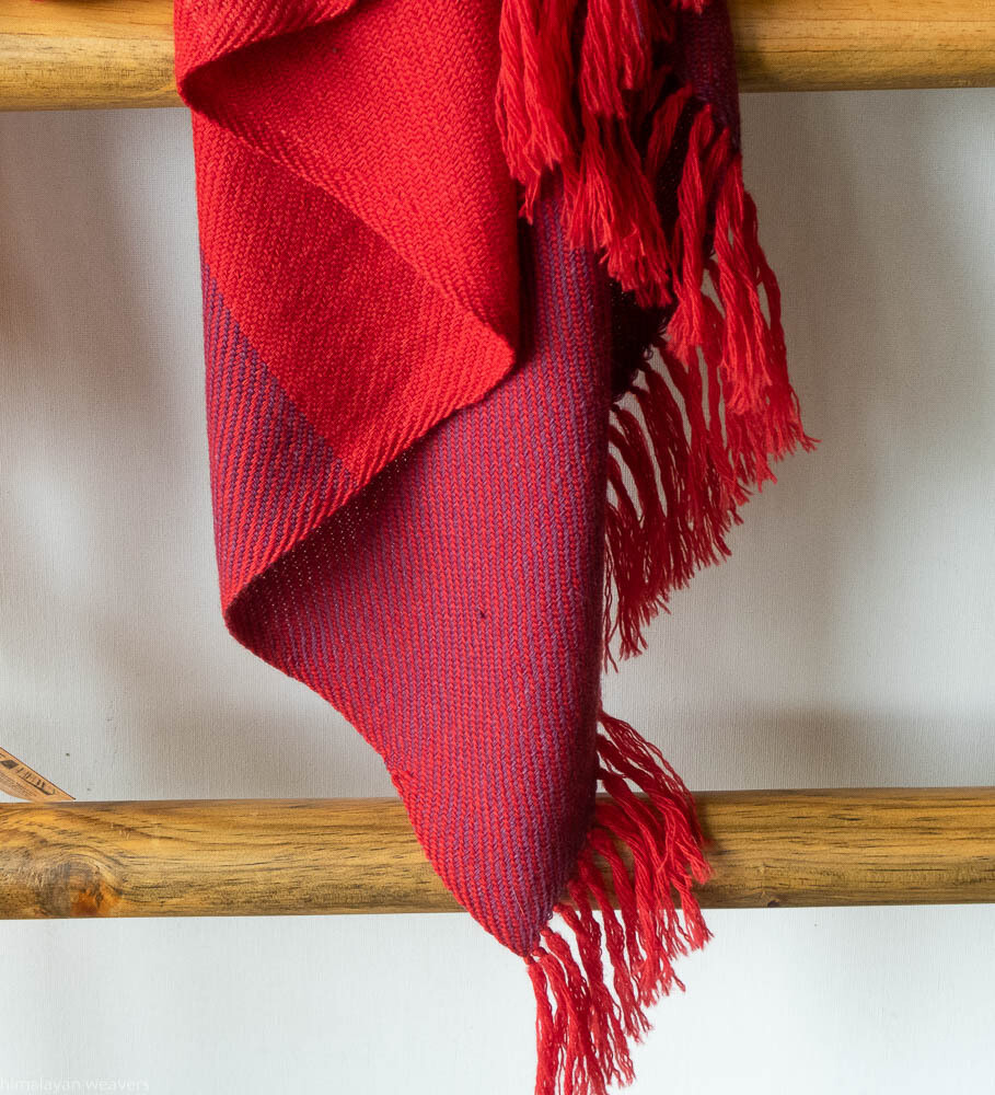 Hand-woven woollen stole dyed with madder and shellac