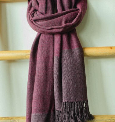 Woolen Shawl Hand Spun and Handwoven Dyed with shellac and sappanwood