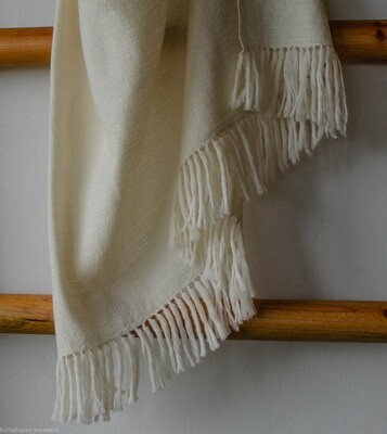 Hand-woven stole wool and eri silk undyed