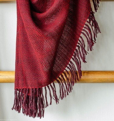 Large handwoven woolen shawl dyed with madder and sappanwood