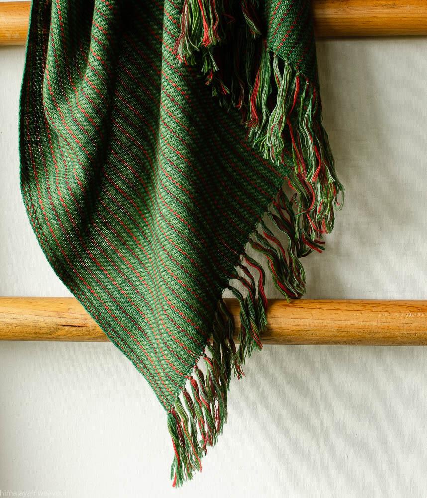 Hand-woven woollen stole dyed with indigo madder tesu flowers