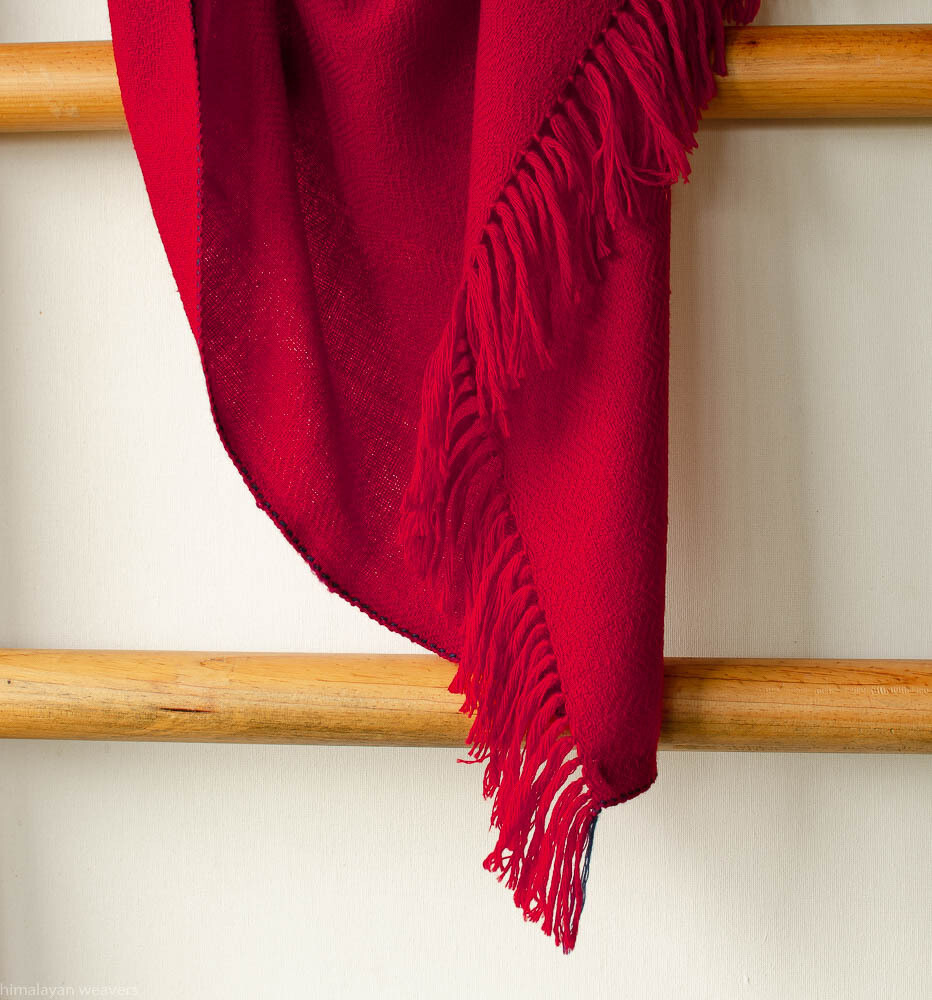 Hand-woven woollen shawl dyed with madder, indigo and sappanwood