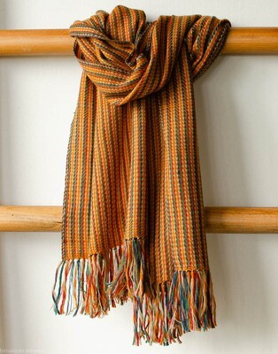 Handwoven Woollen Scarf Dyed with Indigo, Madder and Tesu flowers