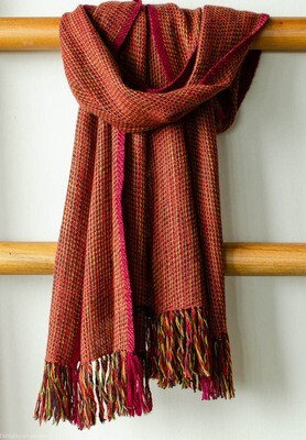 Handwoven Woollen Scarf Dyed with Indigo, Madder, Sappanwood and Tesu flowers