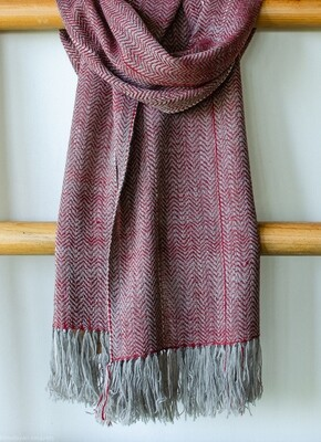Scarf made with hand spun wool and dyed with madder, tea and harada