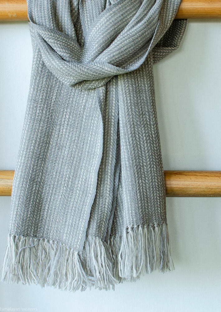 Scarf made with hand spun wool and dyed with tea and harada