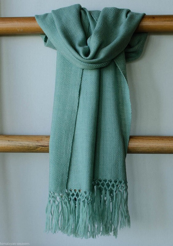 Handwoven Woollen Scarf Dyed with Indigo and tesu flowers
