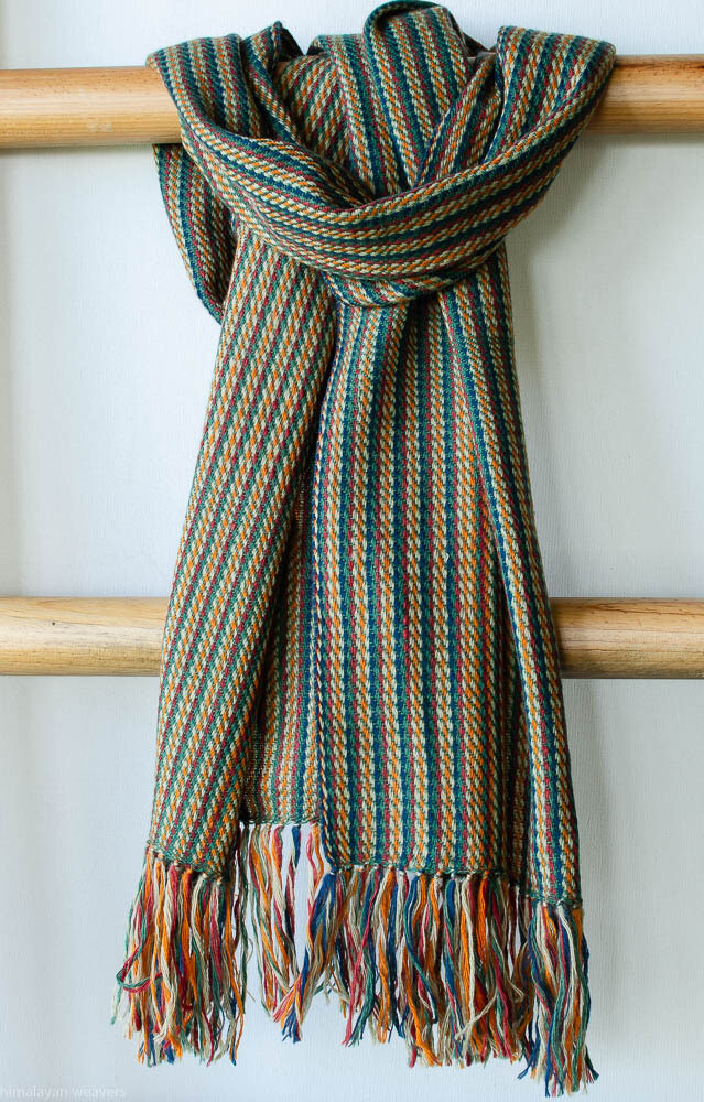 Handwoven Woollen Scarf Dyed with madder, Indigo, tesu flowers and tea