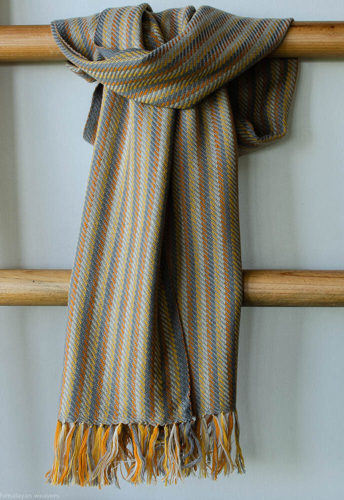 Handwoven Woollen Scarf Dyed with tesu flowers, tea and harada