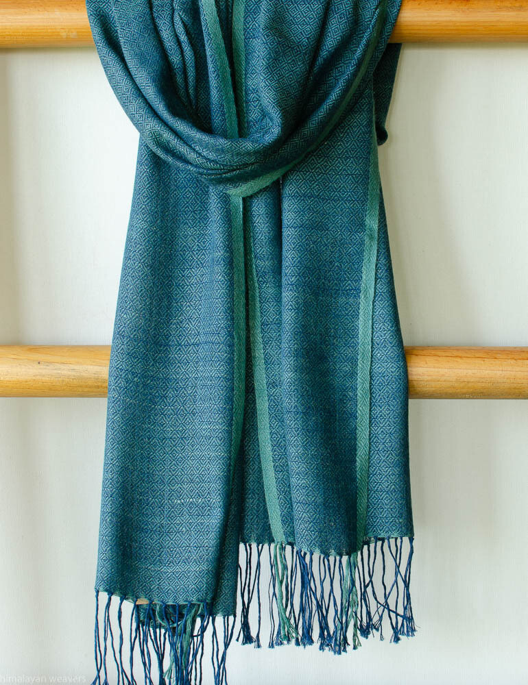 Large scarf cotton and eri silk dyed with indigo and tesu flowers