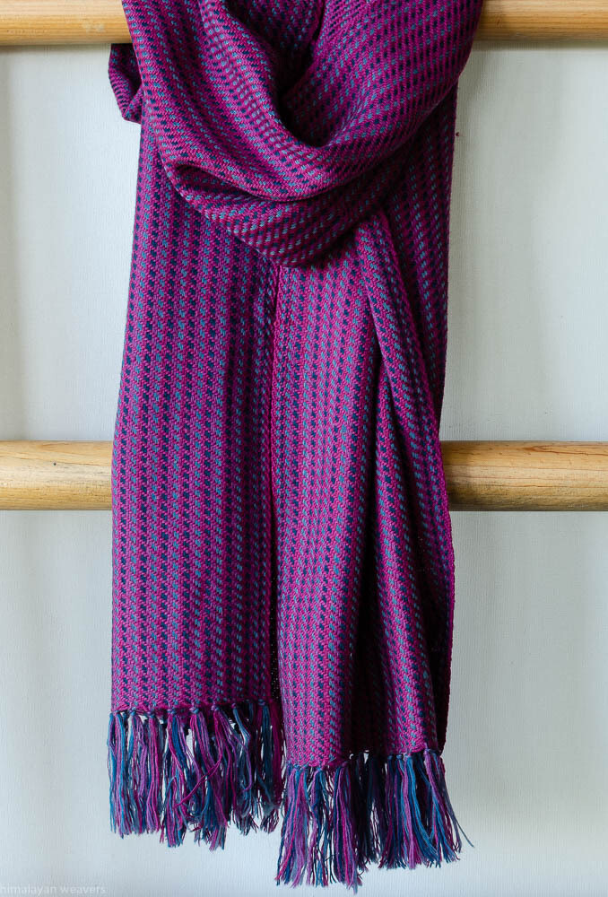 Handwoven Woollen Scarf Dyed with indigo and sappanwood