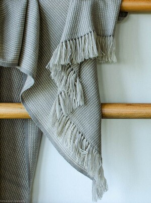 Hand-woven woolen shawl dyed with tea and harada